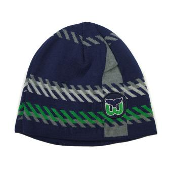 Hartford Whalers Old Time Hockey Navy Bolgar Beanie Knit Hat (Adult OSFA)
