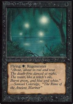 Magic the Gathering Alpha Single Will-o'-the-Wisp - MODERATE PLAY (MP)