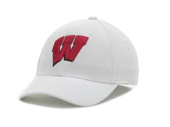 Wisconsin Badgers New Era 39Thirty Team Classic White Flex Fit Hat (Adult S/M)