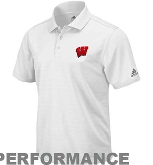 Wisconsin Badgers Adidas White Climalite Performance Polo (Size X-Large)