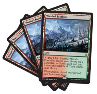 Magic the Gathering Khans of Tarkir PLAYSET Wooded Foothills X4 - NEAR MINT/SLIGHT PLAY (NM/SP)