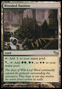Magic the Gathering Shadowmoor Single Wooded Bastion FOIL - SLIGHT PLAY (SP)