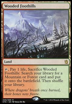 Magic the Gathering Khans of Tarkir Single Wooded Foothills FOIL -  SLIGHT PLAY (SP)