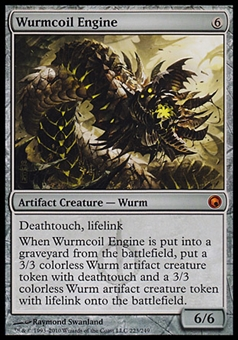 Magic the Gathering Scars of Mirrodin Single Wurmcoil Engine FOIL - MODERATE PLAY (MP)