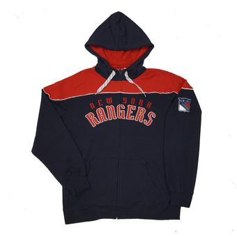 New York Rangers Reebok Navy Score Full Zip Fleece Hoodie