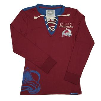 Colorado Avalanche Old Time Hockey Maroon Rachel L/S Jersey Tee Shirt (Womens S)