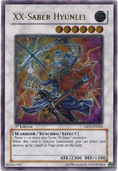 Yu-Gi-Oh Absolute Powerforce Single XX-Saber Hyunlei Ultimate Rare - MODERATE PLAY (MP)