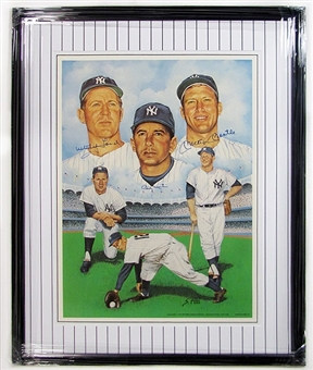New York Yankees Autographed and Framed Litho Mickey Mantle, Billy Martin, & Whitey Ford