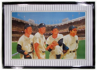 New York Yankees Signed & Framed Litho w/Mantle, Martin, Berra, and Ford