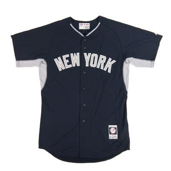 New York Yankees Majestic Navy BP Cool Base Authentic Performance Jersey (Adult 44)