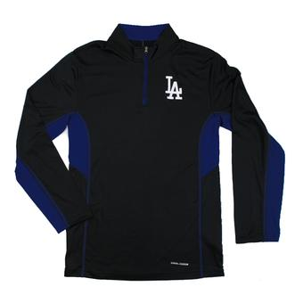 Los Angeles Dodgers Majestic Black 1/4 Zip Team Stats L/S Performance Tee Shirt (Adult L)