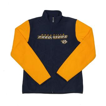 Nashville Predators Reebok Navy Full Zip Microfleece Jacket (Womens L)
