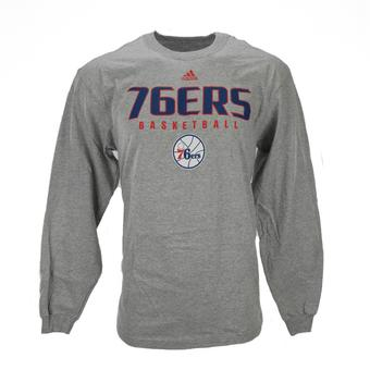 Philadelphia 76ers Adidas Grey Long Sleeve Tee Shirt (Adult XXL)