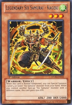 Yu-Gi-Oh Storm of Ragnarok Single Legendary Six Samurai Rare 1st Edition - NEAR MINT