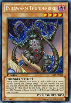 Yu-Gi-Oh Hidden Arsenal 1st Ed. Single Evilswarm Thunderbird Secret Rare - NEAR MINT