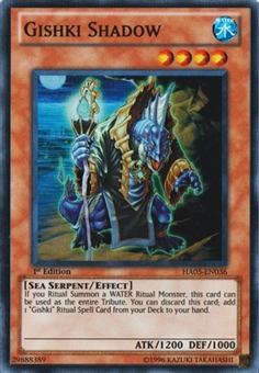 Yu-Gi-Oh Hidden Arsenal 5 1st Edition Single Gishki Shadow Super Rare HA05-EN036