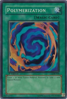 Yu-Gi-Oh BEWD 1st Ed. Single Polymerization Super Rare (LOB-059) - NEAR MINT / SLIGHT PLAY (NM/SP)