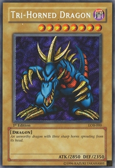 Yu-Gi-Oh BEWD 1st Ed. Tri-Horned Dragon Secret Rare (LOB-000) - NEAR MINT (NM)