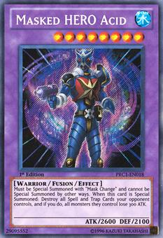 Yu-Gi-Oh Promo 1st Ed. Single Masked HERO Acid Secret Rare - SLIGHT PLAY (SP)