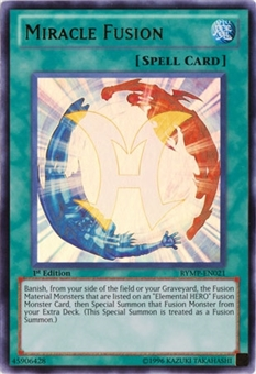 Yu-Gi-Oh Ra Yellow Mega-Pack 1st Ed. Miracle Fusion Ultra Rare RYMP-EN021 - SLIGHT PLAY