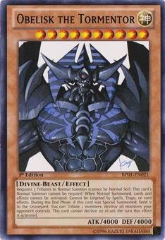 Yu-Gi-Oh Battle Pack 1 1st Ed. Single Obelisk the Tormentor Rare - MODERATE PLAY (MP)