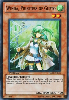 Yu-Gi-Oh Hidden Arsenal 5 1st Edition Single Winda, Priestess of Gusto Super Rare - NM