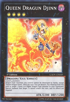 Yu-Gi-Oh Galactic Overlord 1st Edition Single Queen Dragun Djinn Super Rare - NEAR MINT