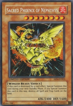 Yu-Gi-Oh Flaming Eternity 1st Ed. Single Sacred Phoenix of Nephthys Ultimate Rare - SLIGHT PLAY (SP)