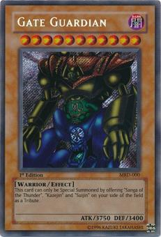Yu-Gi-Oh Metal Raiders 1st Edition Gate Guardian Secret Rare (MRD-000) - SLIGHT PLAY  (SP)
