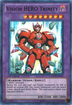 Yu-Gi-Oh GENF Single Vision HERO Trinity Super Rare - SLIGHT PLAY (SP)