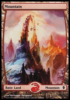 Magic the Gathering Zendikar Single Mountain Extended Art (#244) FOIL - SLIGHT PLAY (SP)