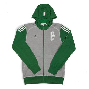 Boston Celtics Adidas Heather Grey & Green Pre-Game Full Zip Fleece Hoodie