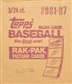 1987 Topps Baseball Rack 3-Box Case