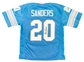 Barry Sanders Autographed Detroit Lions Blue Football Jersey (JSA)
