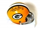 "Bart Starr Autoghraphed Green Bay Packers Mini Helmet w/""HOF 77"" Inscription (PSA)"