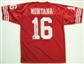 Joe Montana Autographed San Francisco 49ers Red Football Jersey (PSA COA)