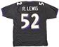 Ray Lewis Autographed Baltimore Ravens Replica Jersey (JSA)