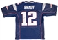 Tom Brady Autographed New England Patriots Nike Blue On Field Jersey (Mounted Memories)