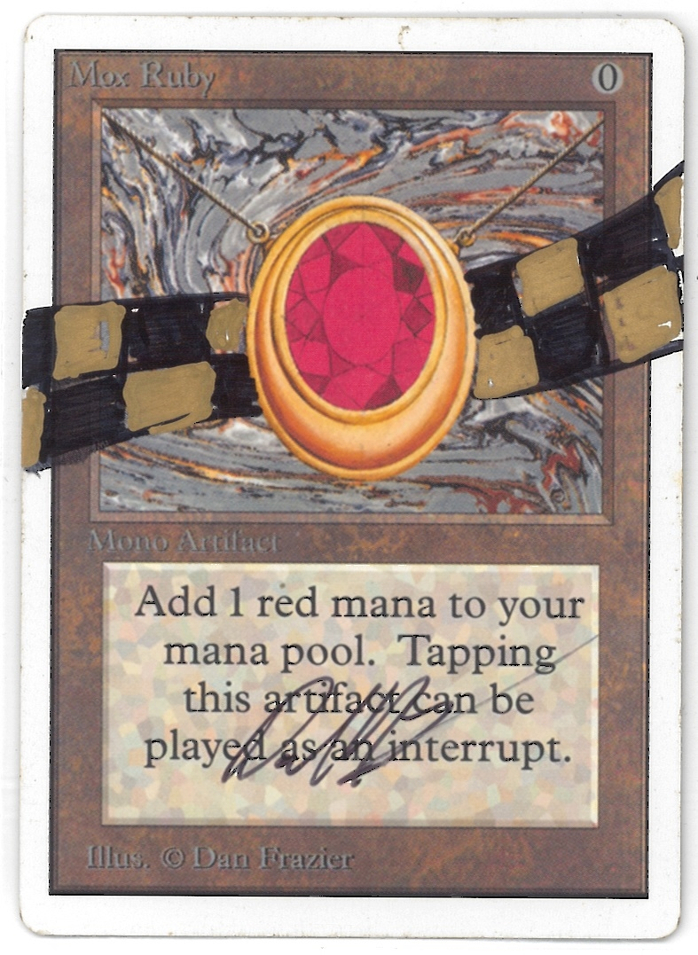 magic the gathering unlimited single mox ruby artist signed altered slight play sp da card. Black Bedroom Furniture Sets. Home Design Ideas