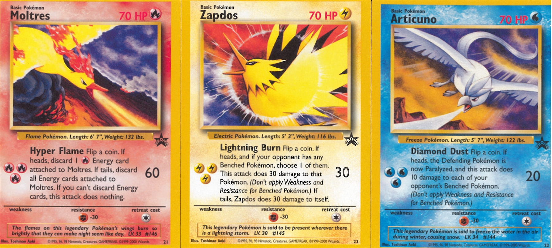 pokemon promotional single articuno  moltres  zapdos set