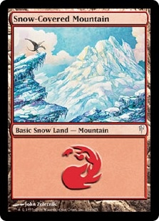 magic  gathering coldsnap single snow covered mountain  mint nm da card world