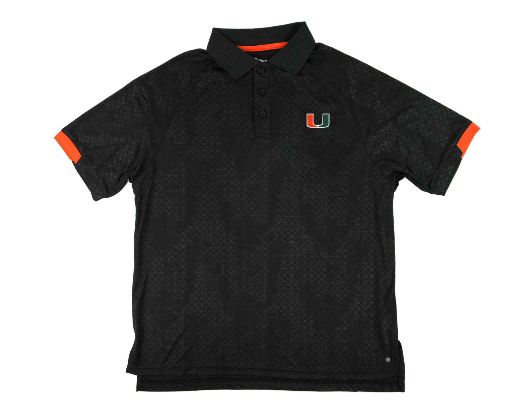Miami hurricanes colosseum black gridlock chiliwear for Embroidered polo shirts miami