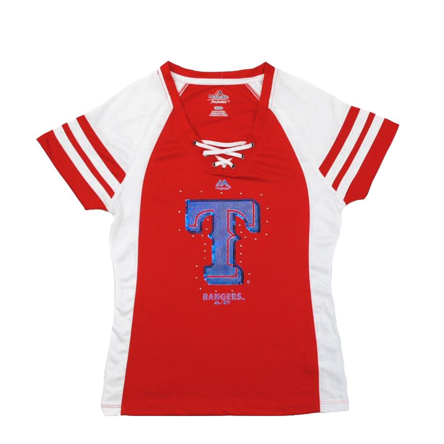 Texas rangers majestic red draft me v neck lace up tee for Rangers t shirts women s