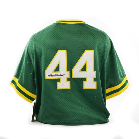 purchase cheap fadf9 7a2b6 Details about Reggie Jackson Autographed Oakland A's Mitchell & Ness  Baseball Jersey (JSA)