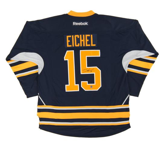 pretty nice 67620 46f93 Details about Jack Eichel Autographed Buffalo Sabres Large Blue Hockey  Jersey