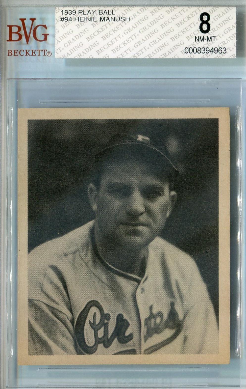 1939 Play Ball Baseball 94 Heinie Manush Bvg 8 Nm Mt 4963 Reed Buy