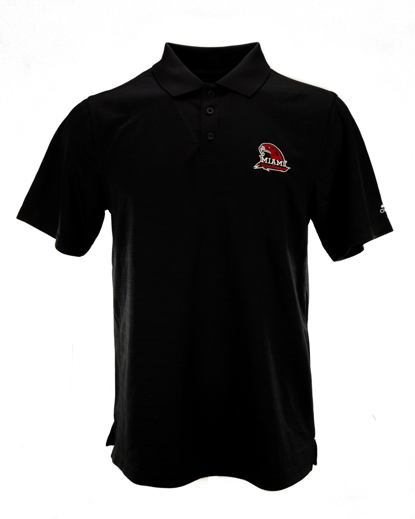 Miami of ohio red hawks adidas black climalite performance for Embroidered polo shirts miami