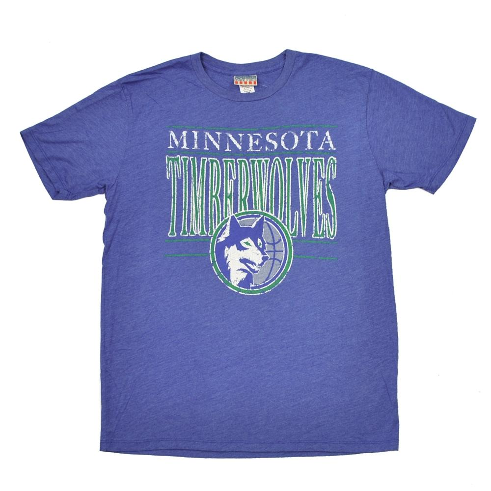 Minnesota timberwolves junk food heather blue vintage tee for Timberwolves new logo shirt
