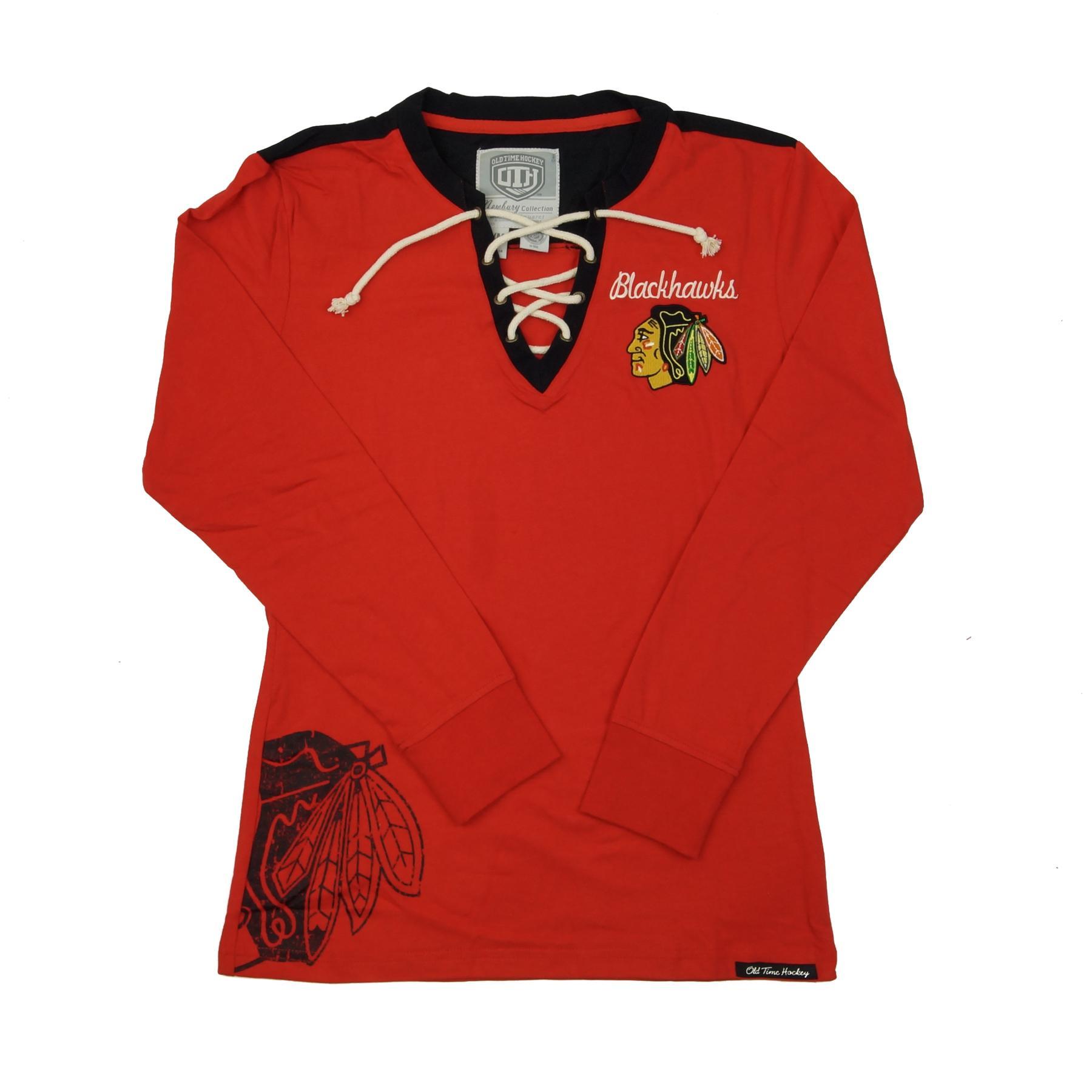 Chicago Blackhawks Old Time Hockey Red Rachel Womens L S