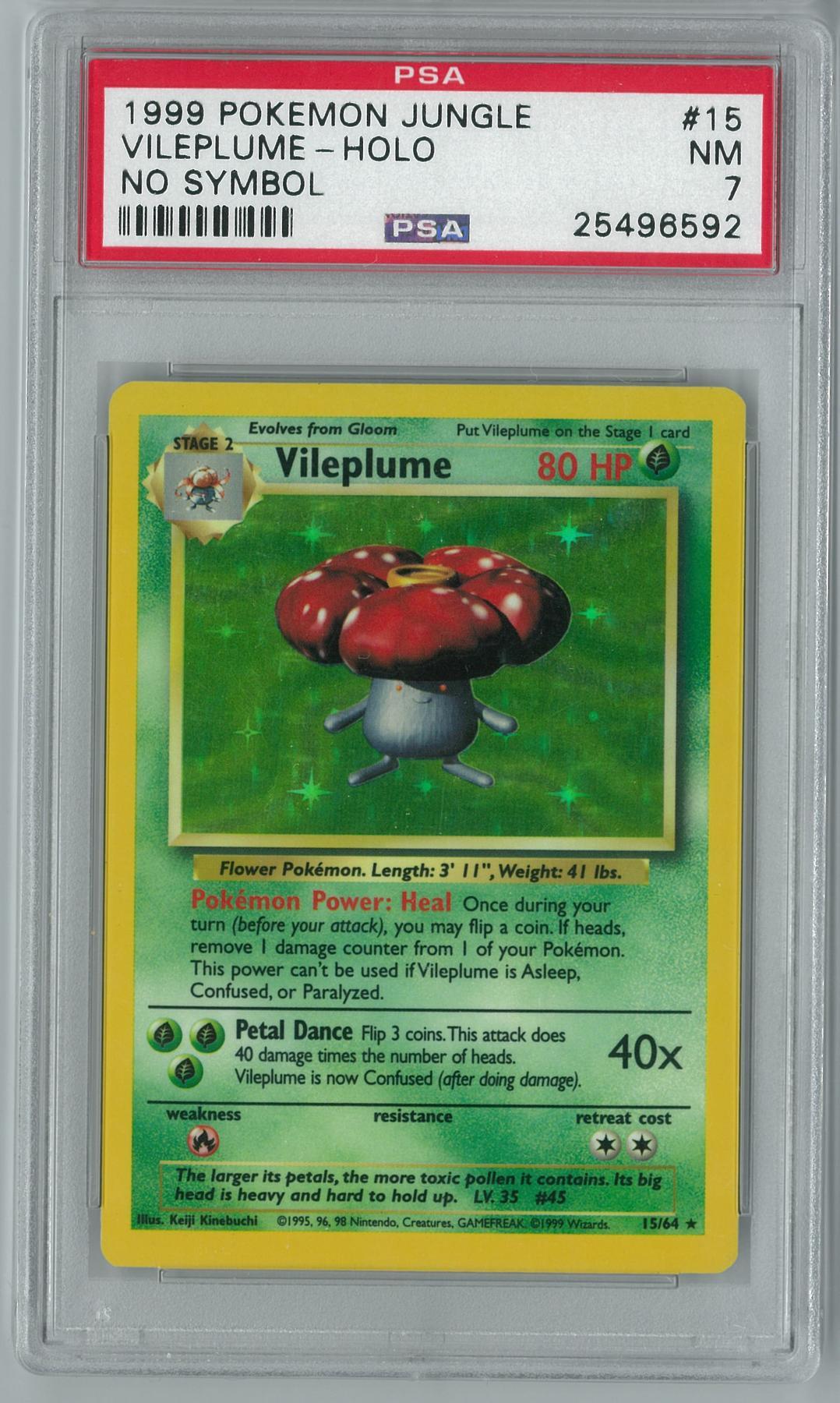 Pokemon Jungle No Set Symbol Error Vileplume 1564 Holo Rare Psa 7